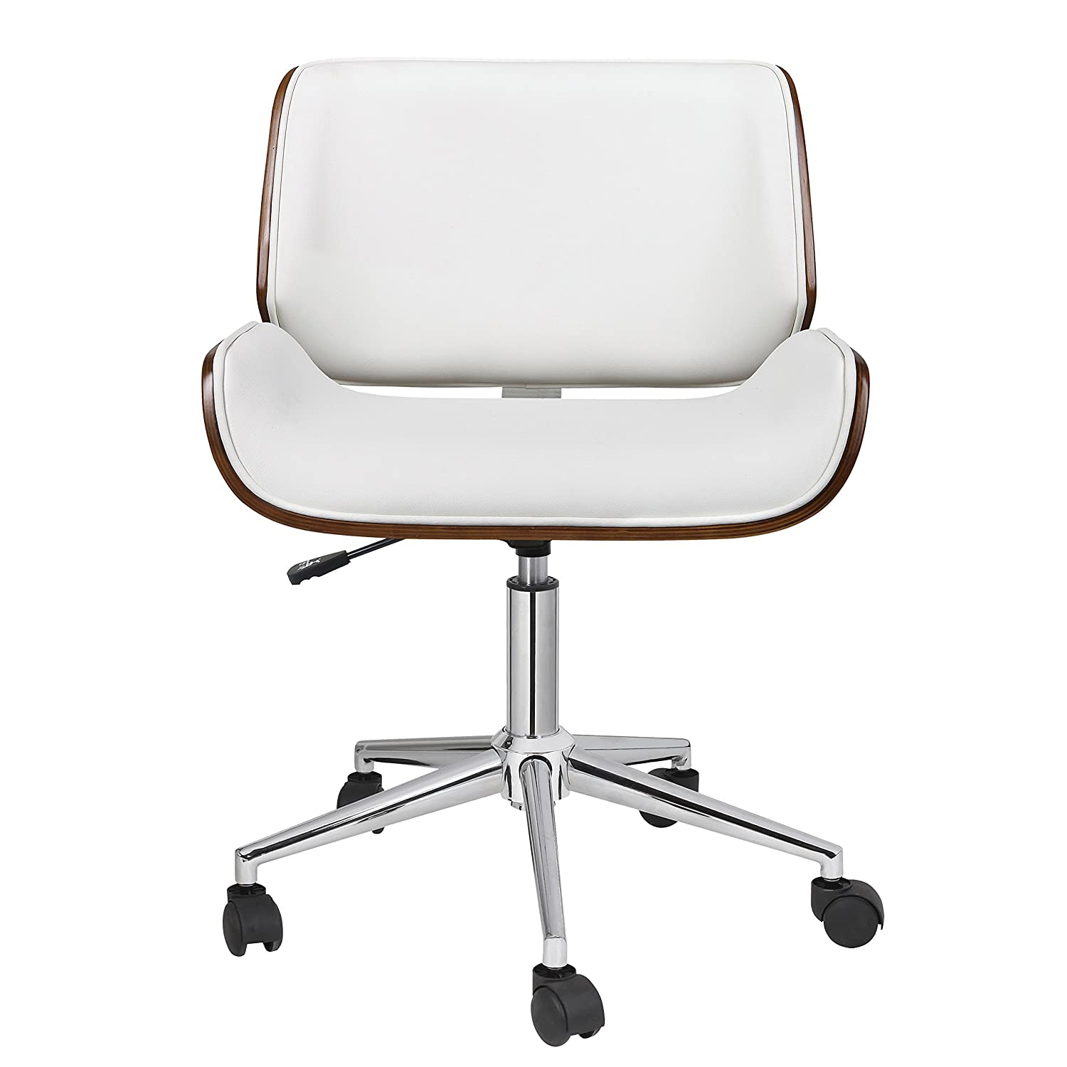 Mid century office chair Wood Porthos Home Kch019a Wht Dove Office Chairs In Midcentury Modern Design With Leather Upholstery Wooden Accents Stainless Steel Legs Roller Wheels Amazoncom Amazoncom Porthos Home Kch019a Wht Dove Office Chairs In Mid