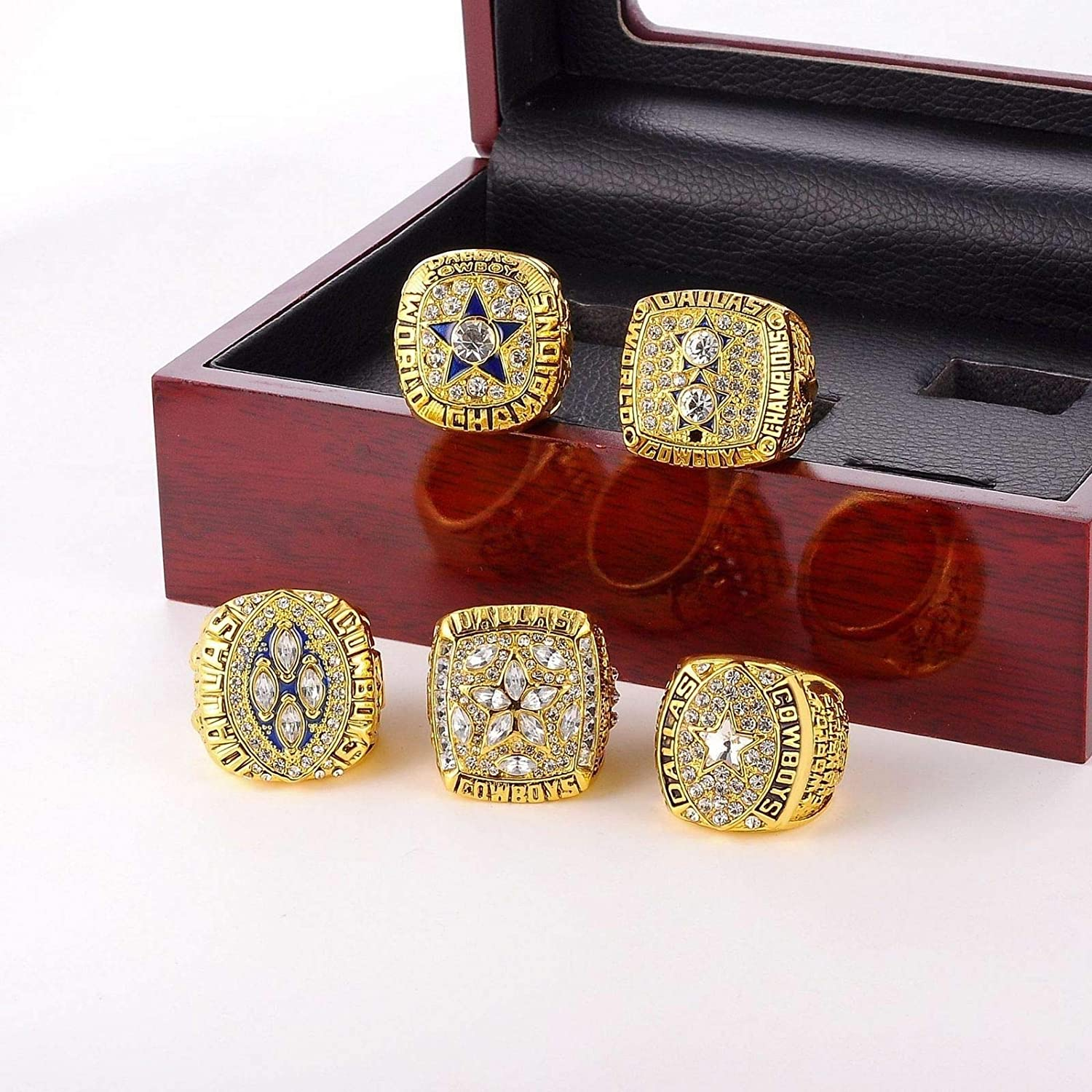 MT-Sports Dallas Cowboys Championship Ring Rings Super Bowl Gold Sliver Rings Full Set Replica Gift Collection Size 11 with Display Box