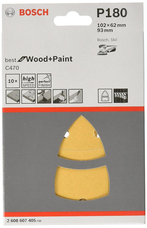 Bosch 2608607402 Feuille abrasive 10 pi/èces 102 x 62 mm Grain 40