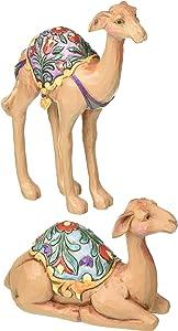 "Jim Shore Heartwood Creek Mini Stone Resin Camel Figurines Set of Two, 4.25"""
