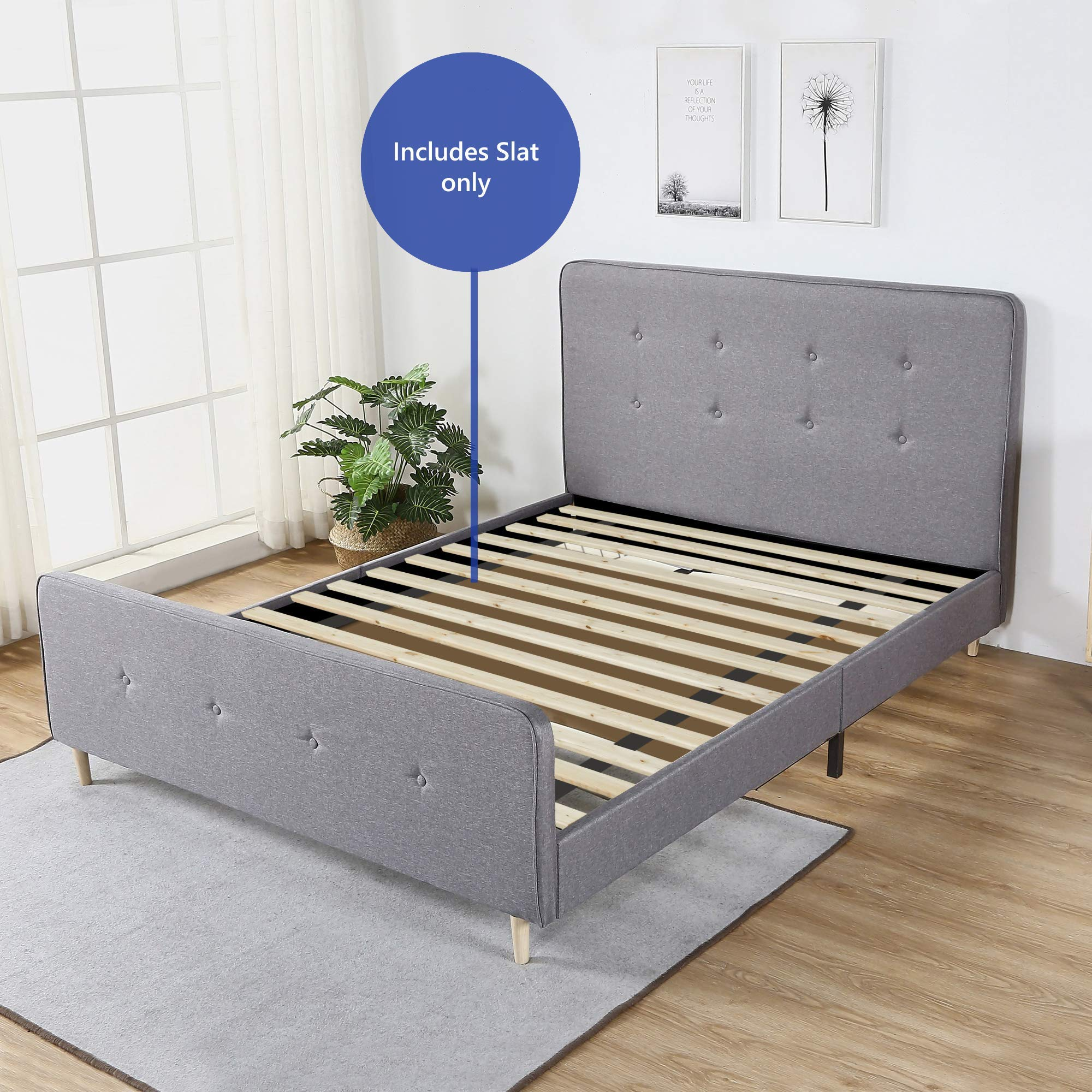 Continental Matress 1-Inch Standard Mattress Support Wooden Bunkie Board/Slats, TwinSize, Beige (Renewed) by Continental Matress