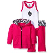 Yoga Sprout Baby 3 Piece Jacket, Top and Pant Set, Pink/Black Damask, 6-9 Months (9M)