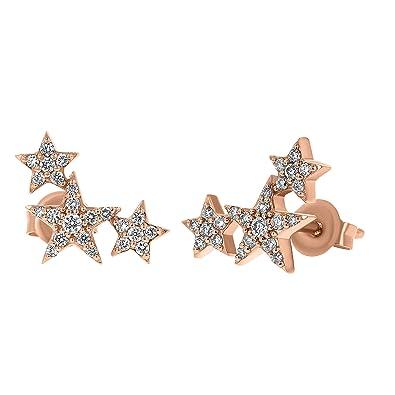 56a7853e8 Olivia Paris 14K Rose Gold Three Star Stud Climber Earrings (1/4 cttw,