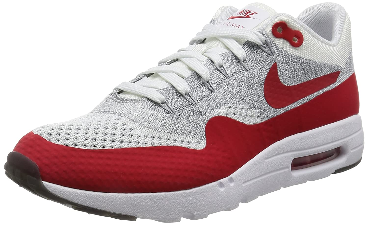 NIKE Air Max 1 Ultra Flyknit Men's Sneaker (8.5 D(M) US, WhitePure PlatinumCool GreyUniversity Red)