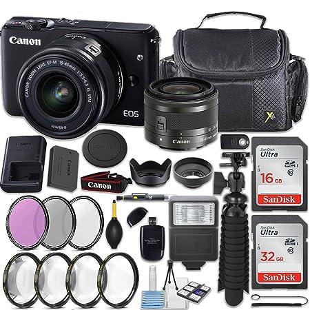 Canon EOS M10 18MP Mirrorless Digital Camera + EF M 15 45mm f/3.5 6.3 is STM Lens  Graphite  + 48 GB Memory + Filters  amp; Macros + Quality Spider Tri