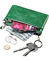 Itslife RFID BLOCKING Triple Zipper Leather Mini Coin Purse Card Holder with Key Chain