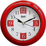 Ajanta Plastic Round Sweep Clock (17.2 cm x 17.2 cm x 3.2 cm, Red)