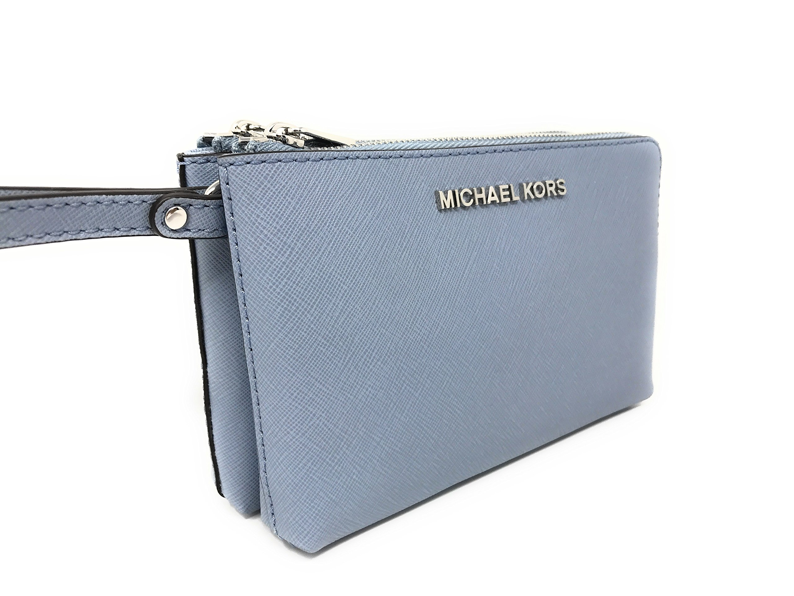 Michael Kors Jet Set Travel Large Double Gusset Wristlet Bag Purse in Pale Blue by Michael Kors (Image #4)