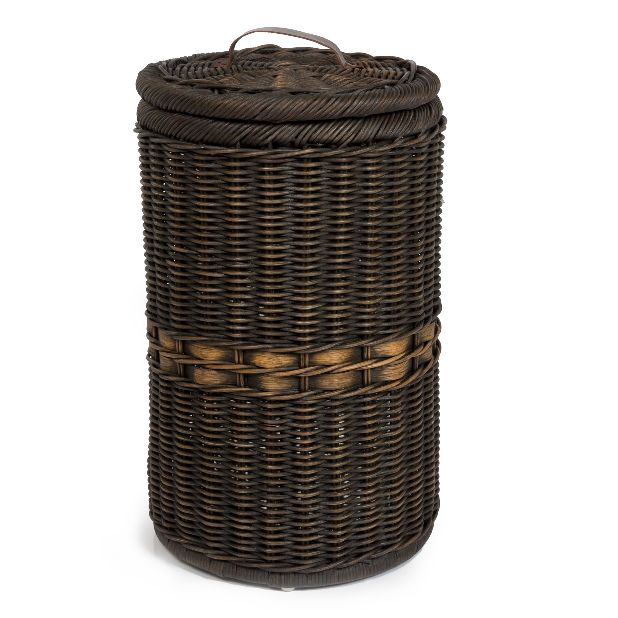 The Basket Lady Tall Wicker Trash Basket with Metal Liner, 15.5 in Dia x 25.5 in H, Antique Walnut Brown by The Basket Lady