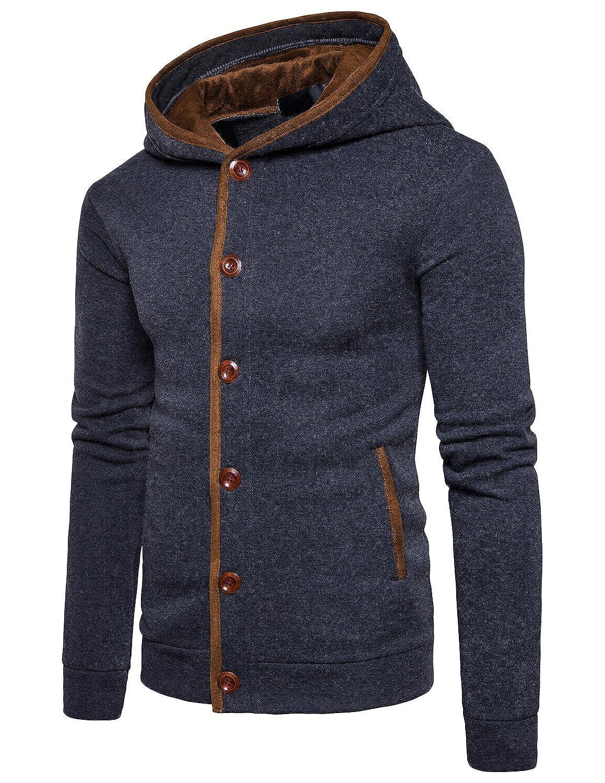 63284a7c7f11 STTLZMC Homme Hiver Chaud Polaires Doublé Sweats à Capuche Cotton Manteaux  Doux Blousons Sweat-Shirts
