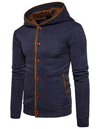 Leisure Homme Hiver Chaud Polaires Doublé Sweats à Capuche Cotton Manteaux  Doux Blousons Sweat-shirts c1f20999c9db