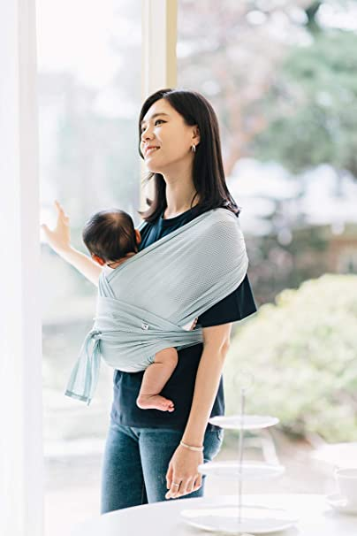 Sensible Sleep Solution Newborns Konny Baby Carrier Summer Cool and Breathable Fabric Ultra-Lightweight Infants to 45 lbs Toddlers Hassle-Free Baby Wrap Sling Cream, M