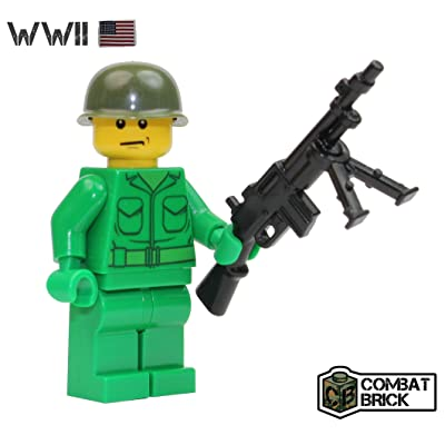 CombatBrick WWII US Army Soldier with WW2 BAR Light Machine Gun - Custom Military Brick Builder Minifigure: Toys & Games