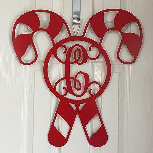 monogram candy cane door hanger christmas door hanger candy cane initial wreath winter