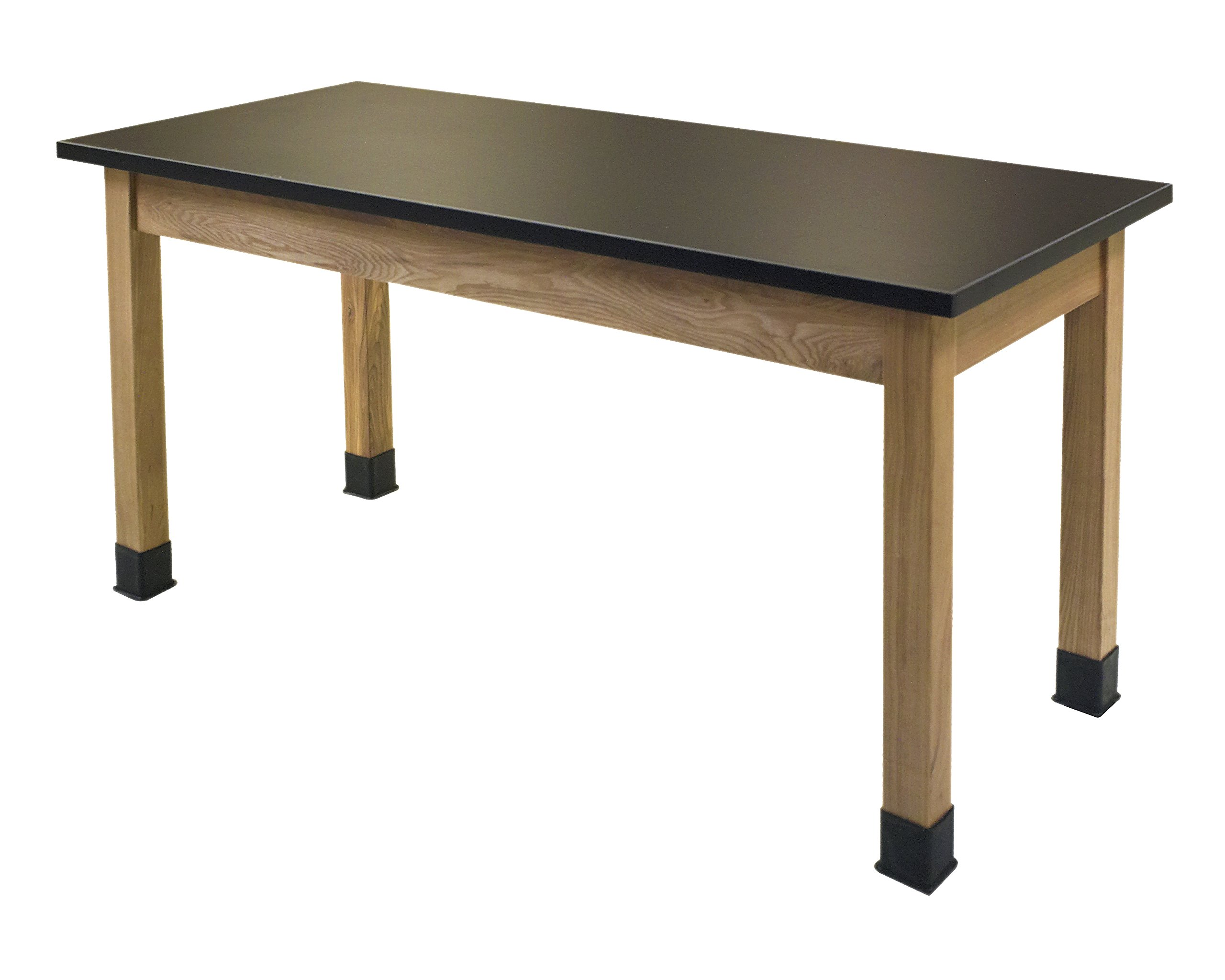 National Public Seating SLT2460 Chem-Res Top Science Lab Table, Plain Front, No Book Boxes, 30'' Height, 24'' Width, 60'' Length, Black/Oak by National Public Seating