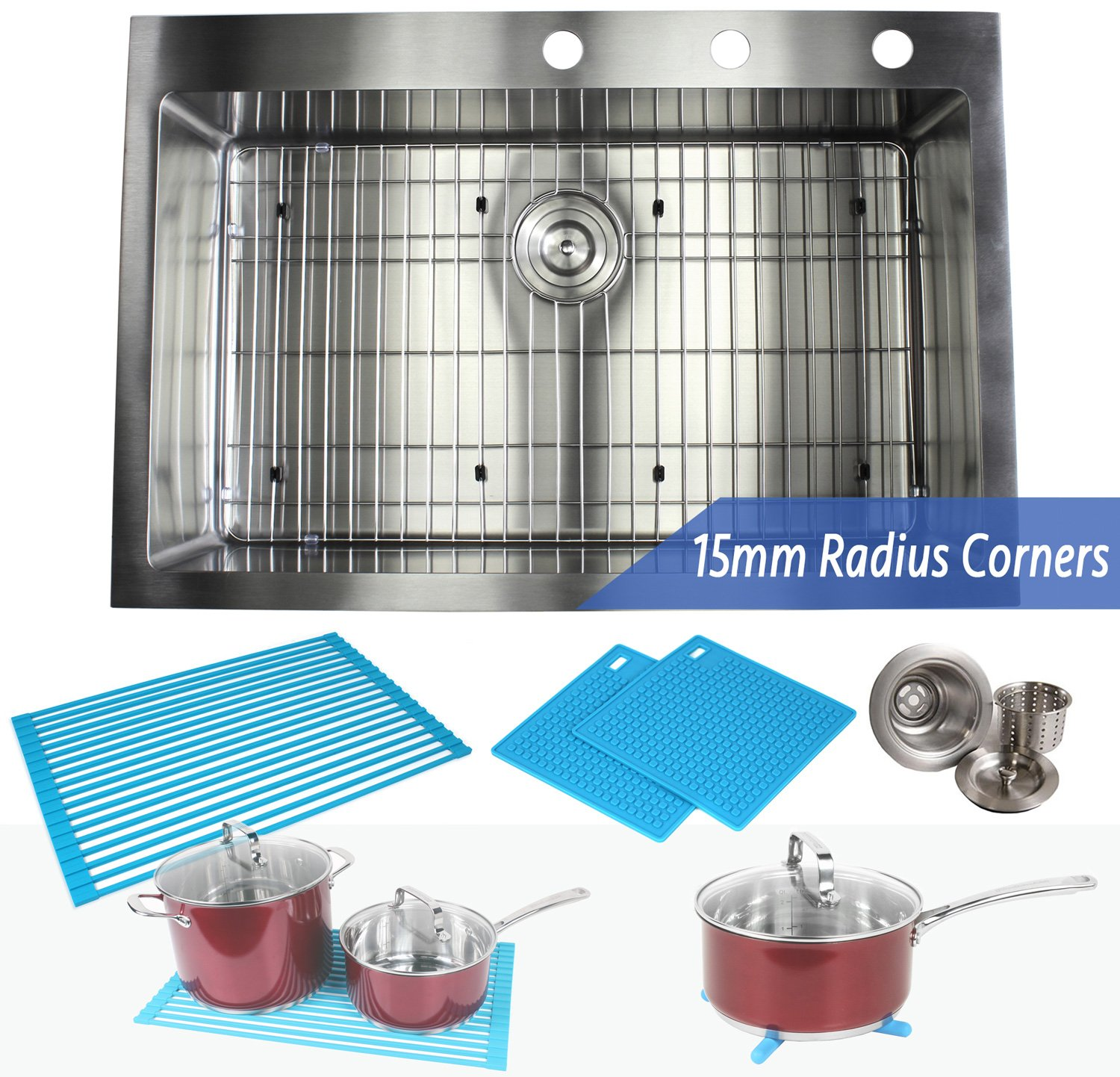 33 Inch Topmount / Drop In Stainless Steel Kitchen Sink Package - 16 ...