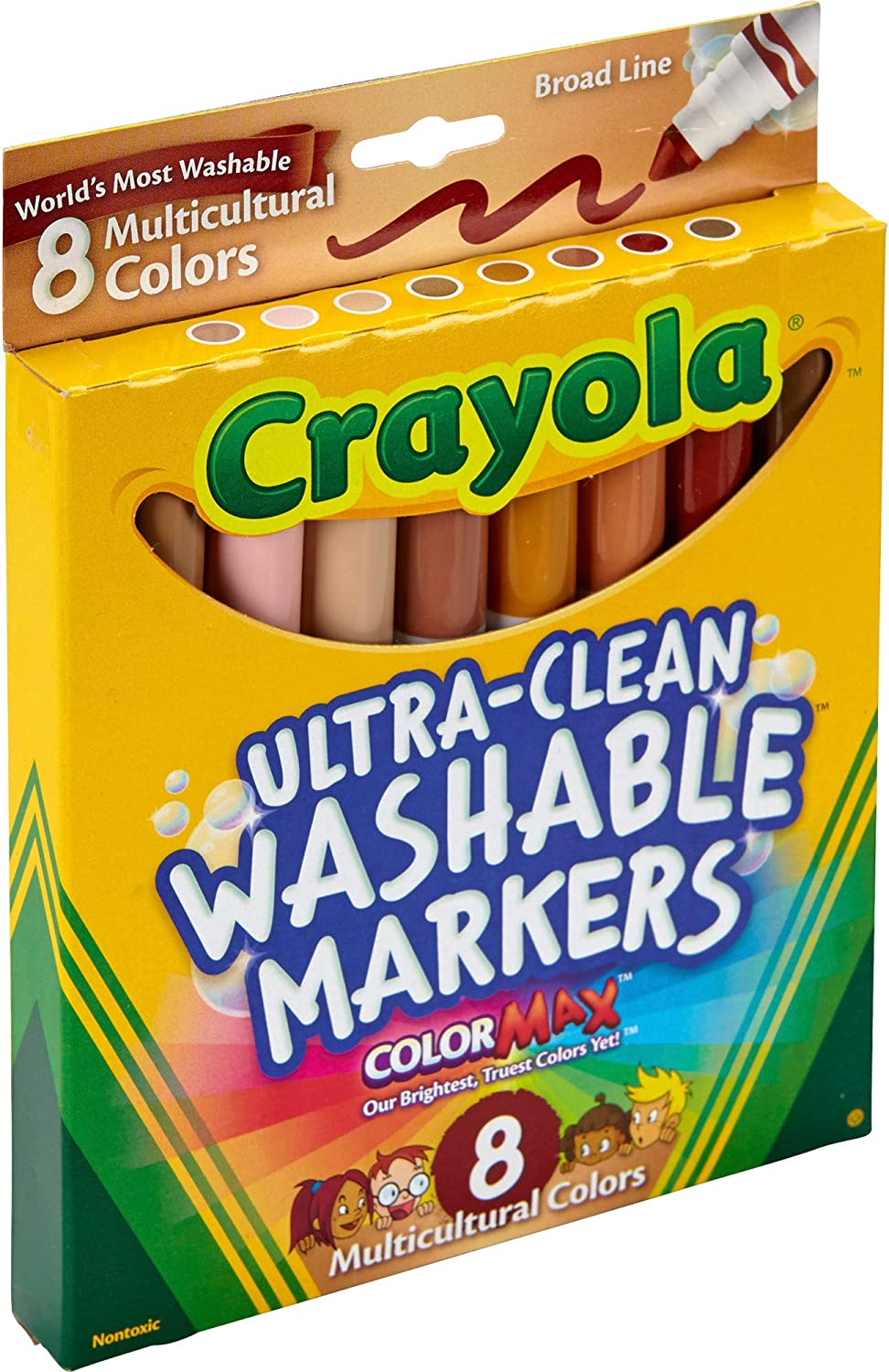 Crayola 8CT Washable Multicultural Colors Conical Tip Markers Binney /& Smith 58-7801