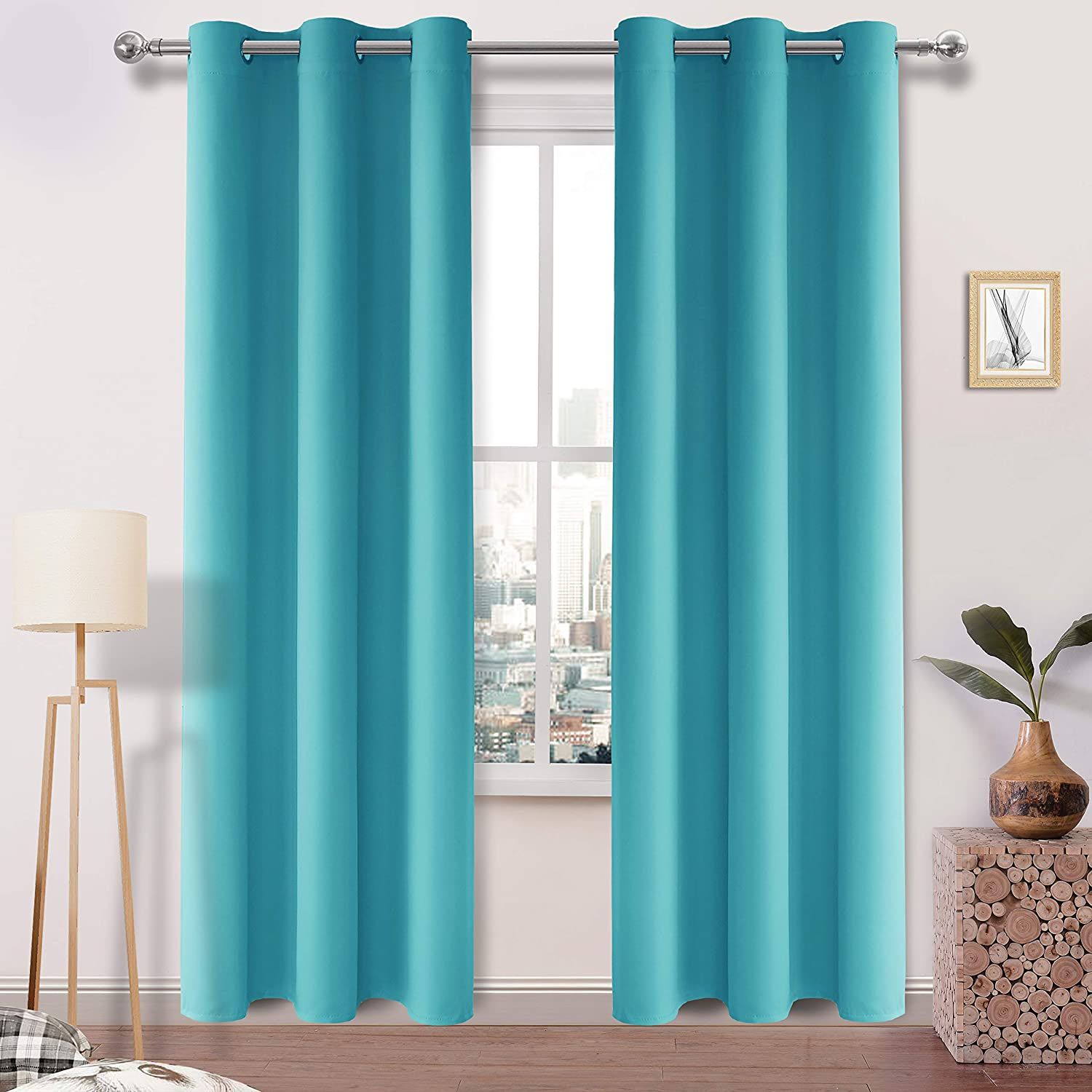 DWCN Turquoise Blackout Curtains - Room Darkening Thermal Insulated Living Room and Bedroom Curtains 38 x 84 inch Length, Set of 2 Window Curtain Panels