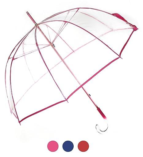 Paraguas transparente rosa de mujer, función antiviento. Paraguas grande, elegante, resistente y
