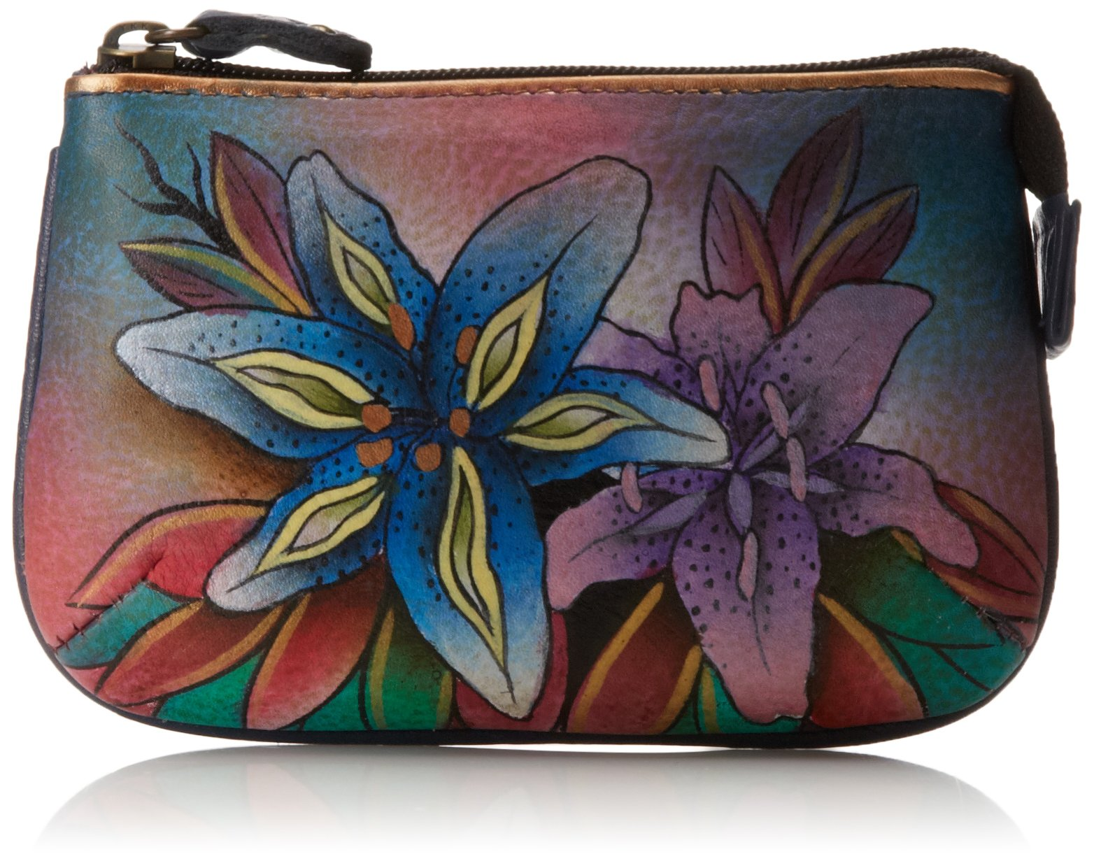 Anuschka Women's Coin Purse | Genuine Leather | Luscious Lilies Denim by Anuschka