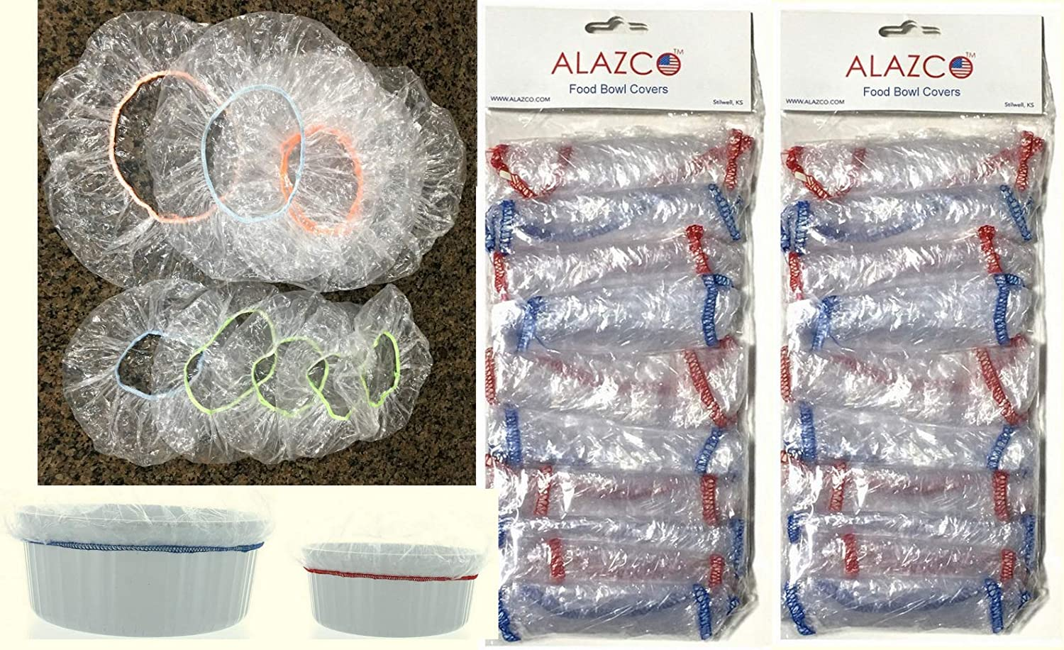 ALAZCO Pack of 20 Reusable Elastic Bowl Covers Clear Plastic 10 Large (up to 13