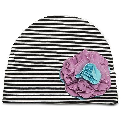Itty Bitty & Pretty - 0-12 Month Purple & Blue Flower/Black & White Striped Hat