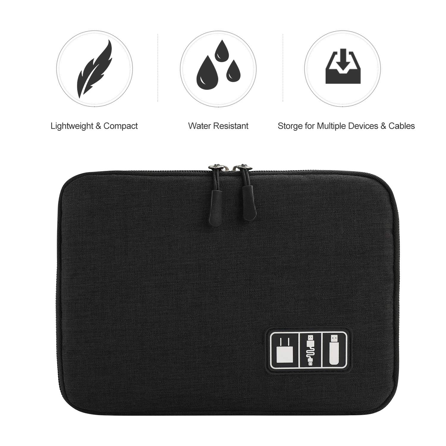 Electronics Organizer, Jelly Comb Electronic Accessories Cable Organizer Bag Waterproof Travel Cable Storage Bag for Charging Cable, Power Bank, iPad (Up to 11'' and More-Large(All Black) by Jelly Comb (Image #2)