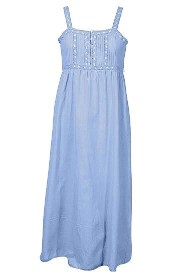 d780dc4d24 Cotton Lane Blue Chambray Victorian Vintage Nightdress: Amazon.co.uk:  Clothing