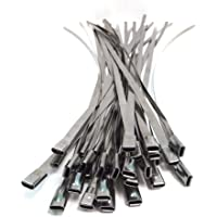 20 stuks metalen kabelbinders kabelbinders staalband roestvrij staal hittewerende tape uitlaatband 4,6 mm x 360 mm