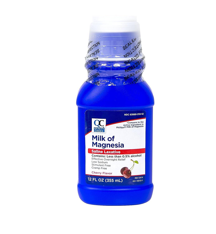Amazon.com: Quality Choice Milk Of Magnesia Cherry Flavor 12 Fluid Ounces (355ml) , Plastic Bottle (Pack of 6): Health & Personal Care