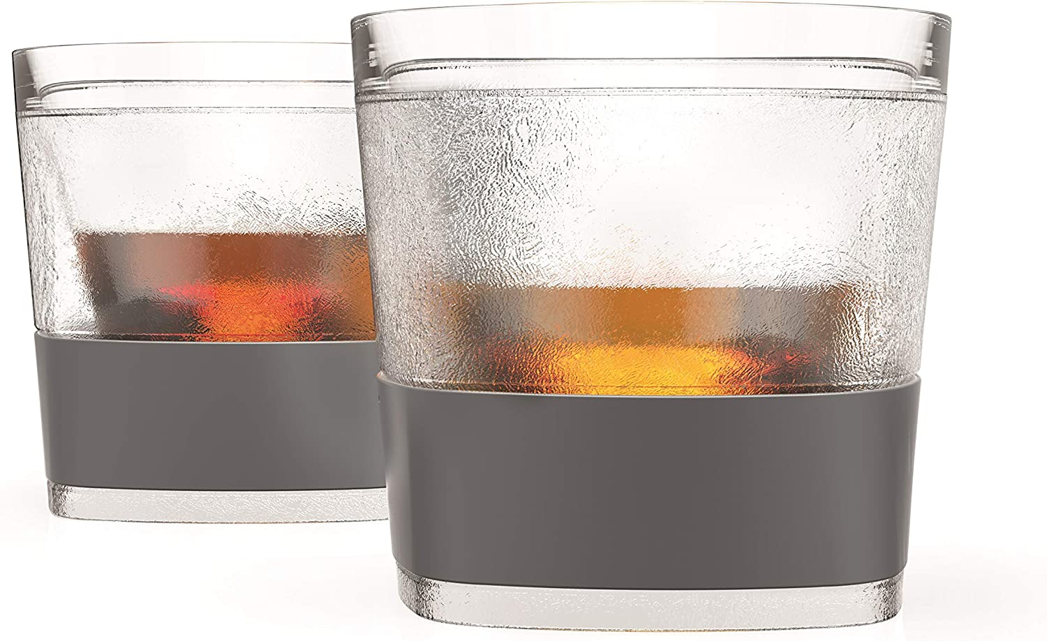 Host Freeze Cooling Cups for Whiskey Set of 2 Bourbon and Scotch Freezer Gel Chiller Double Wall Tumblers Smoke 9 oz