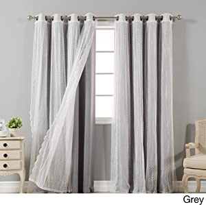 Aurora Home Mix & Match Blackout and Dot Sheer 4 Piece Curtain Panel Set - 52x84 Grey 84 Inches
