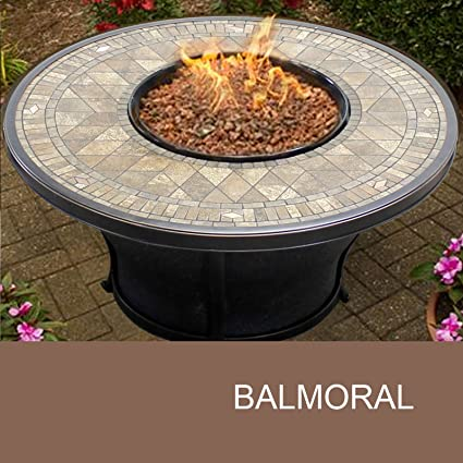 TK Classics FP Balmoral KIT Balmoral Round Porcelain Top Gas Fire Pit Table,