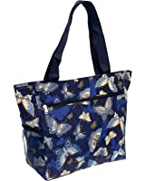 Women's Beach Shopper Tote Bag (Blue Butterfly)