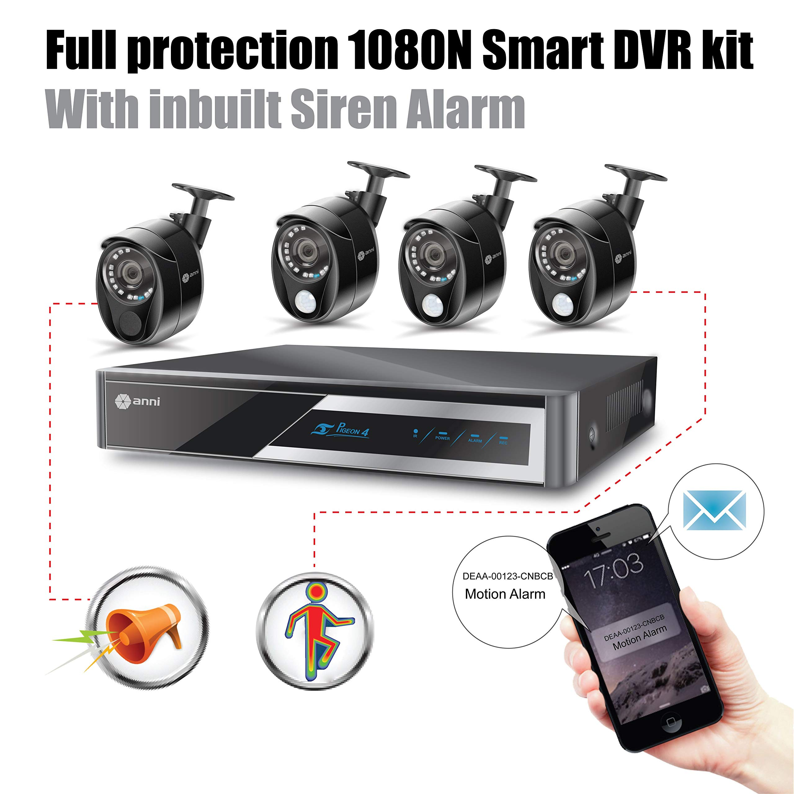 Anni 1080N HD Home Security Camera System CCTV Wired Surveillance DVR Kit, 4-Channel 1080N Digital Video Recorder, 4 x 1080p Cameras: 3 x PIR Sensor Camera, 1 x Siren Alarm Camera by anni