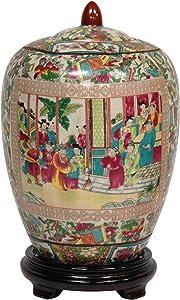 """Oriental Furniture 11"""" Rose Medallion Porcelain Jar"""