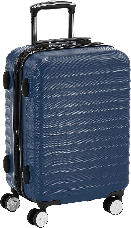 AmazonBasics - Maleta rígida giratoria prémium de 55 cm, azul marino