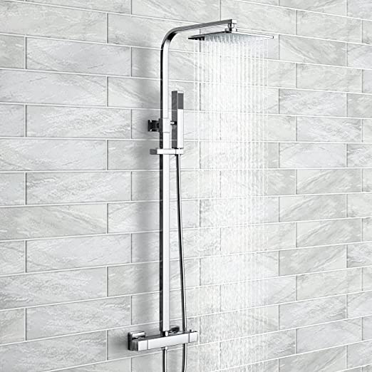 Cuadrado juego de columna de ducha con válvula termostática 17,78 ...