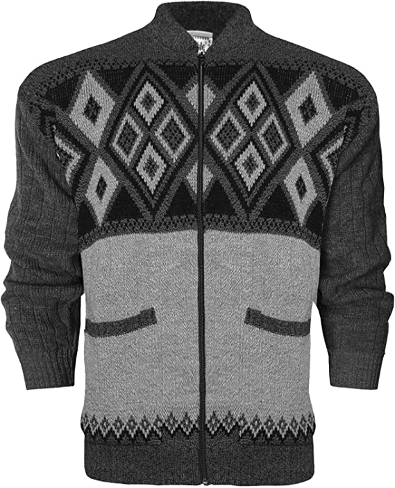 New Mens Classic Zip UP Cardigan Argyle Diamond Grandad Front Zip Fastening Ribbed Cuffs and Hem Aztec Two Front Hand Pockets Plus Size Jumpers TOP