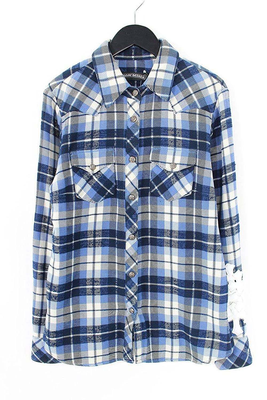 (クロムハーツ) Chrome Hearts スターボタン袖セメタリーレザーパッチチェック柄長袖シャツ(SM(JVP)/ブルー) 中古 B07FFPYLHZ  -