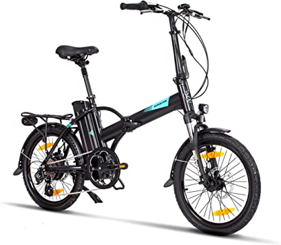 Fitifito Bicicleta eléctrica New York FD20 Plus Pulgadas Bicicleta Plegable E-Bike, 36v 250w Motor, 15.6AH 561Wh LON de Litio,8 Speed Shimano Gears,Color Negro: Amazon.es: Deportes y aire libre