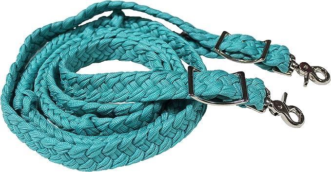 Tough-1 Pro Cotton Roping Rein Turquoise