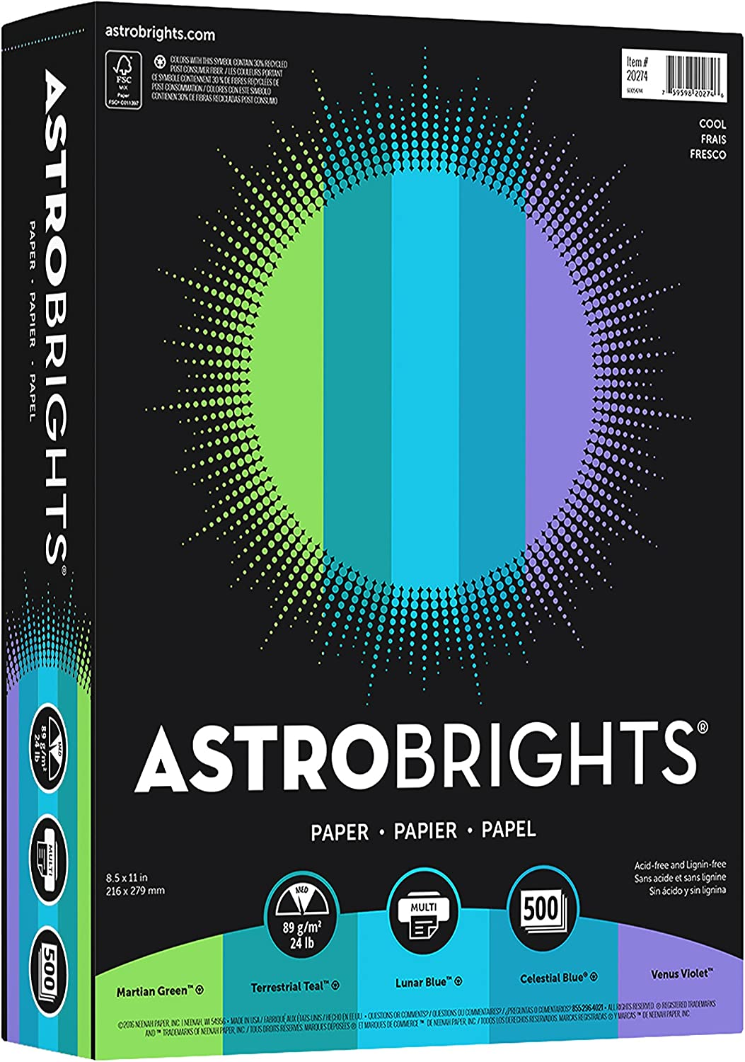 """Astrobrights Color Paper, 8.5"""" x 11"""", 24 lb/ 89 gsm, """"Cool"""" 5-Color Assortment, 500 Sheets(20274) : Printer And Copier Paper : Office Products"""