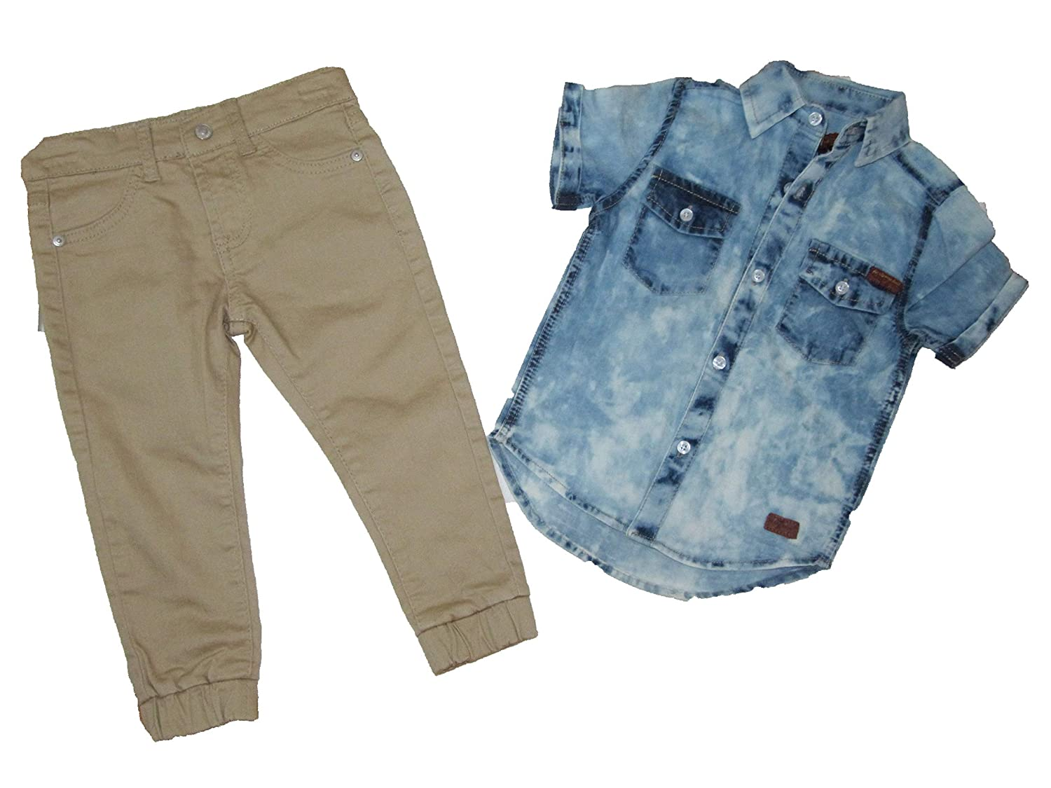 for All 7 Mankind Jean Shirt /& Pants Size 2 T Boys Blue//Tan