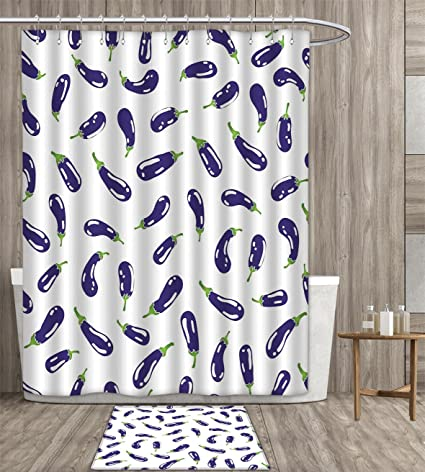 Homefeel Eggplant Shower Curtain 3D Digital Printing Fresh Eggplants On White Surface Delicious Dishes Eco Food
