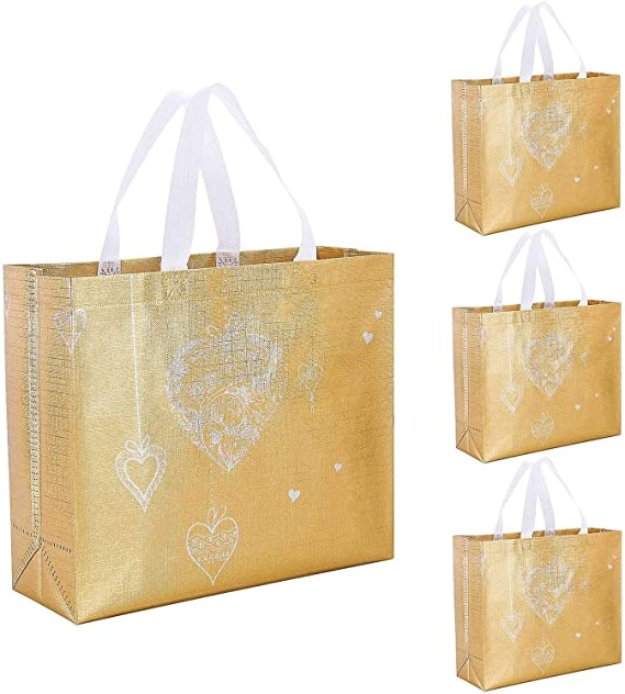 Set of 12 Glossy Reusable Grocery Bag Tote Bag with Rose Gold