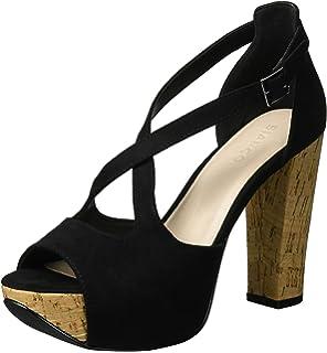Suede Sandal Jfm17, Sandales Bout Ouvert Femme - Noir - Noir, 39Bianco