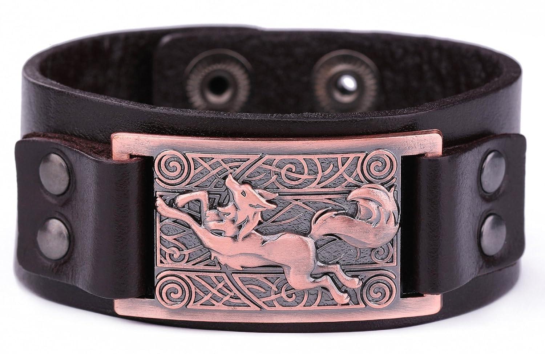 Bracelet manchette réglable en cuir avec motif loup irlandais - Boucle réglable Skyrim Alliage YI WU KE JI
