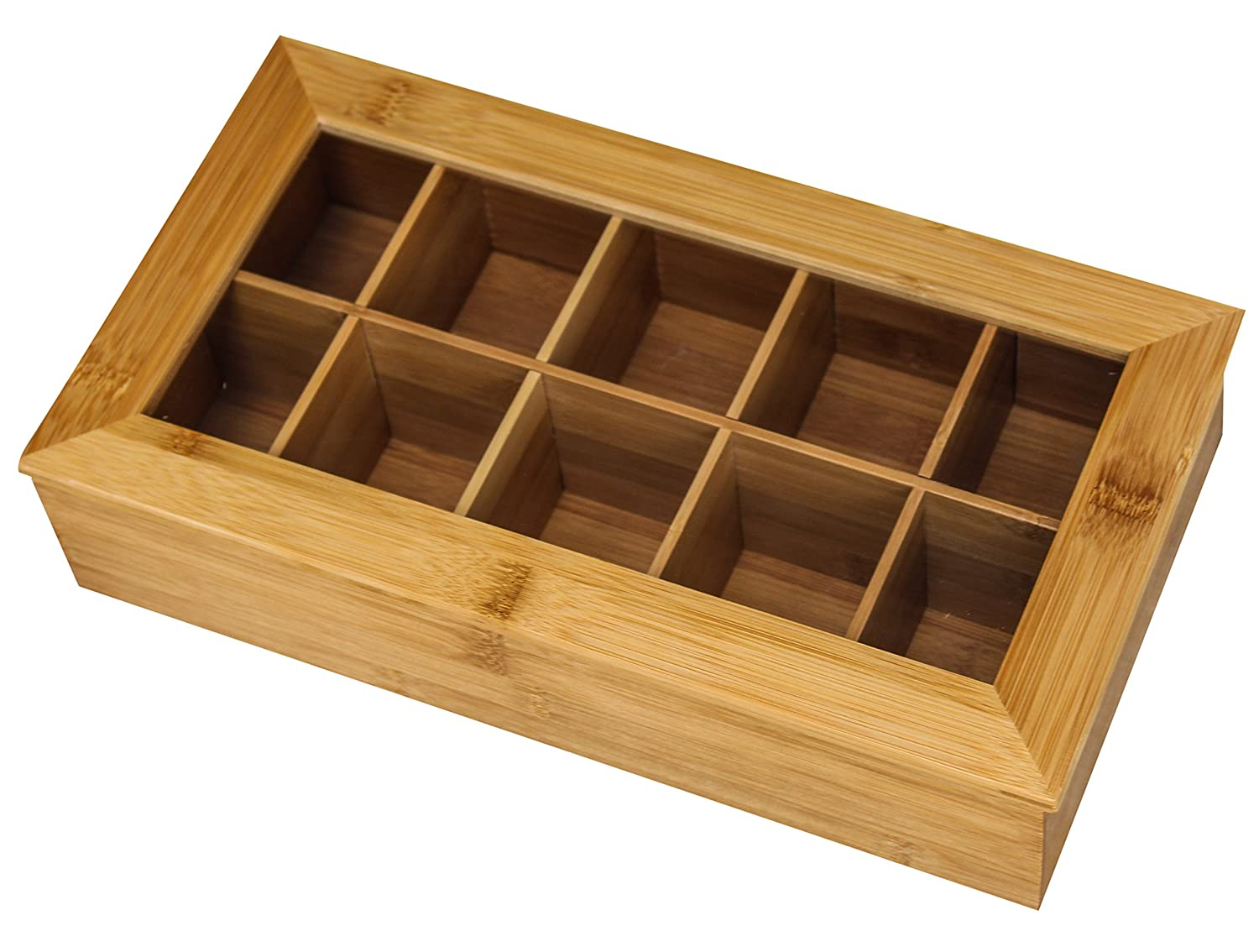 Bamboo Tea Storage Box - Tea Bag Organizer Or Kitchen Condiment Holder Perfect for Tea Lovers (14.5
