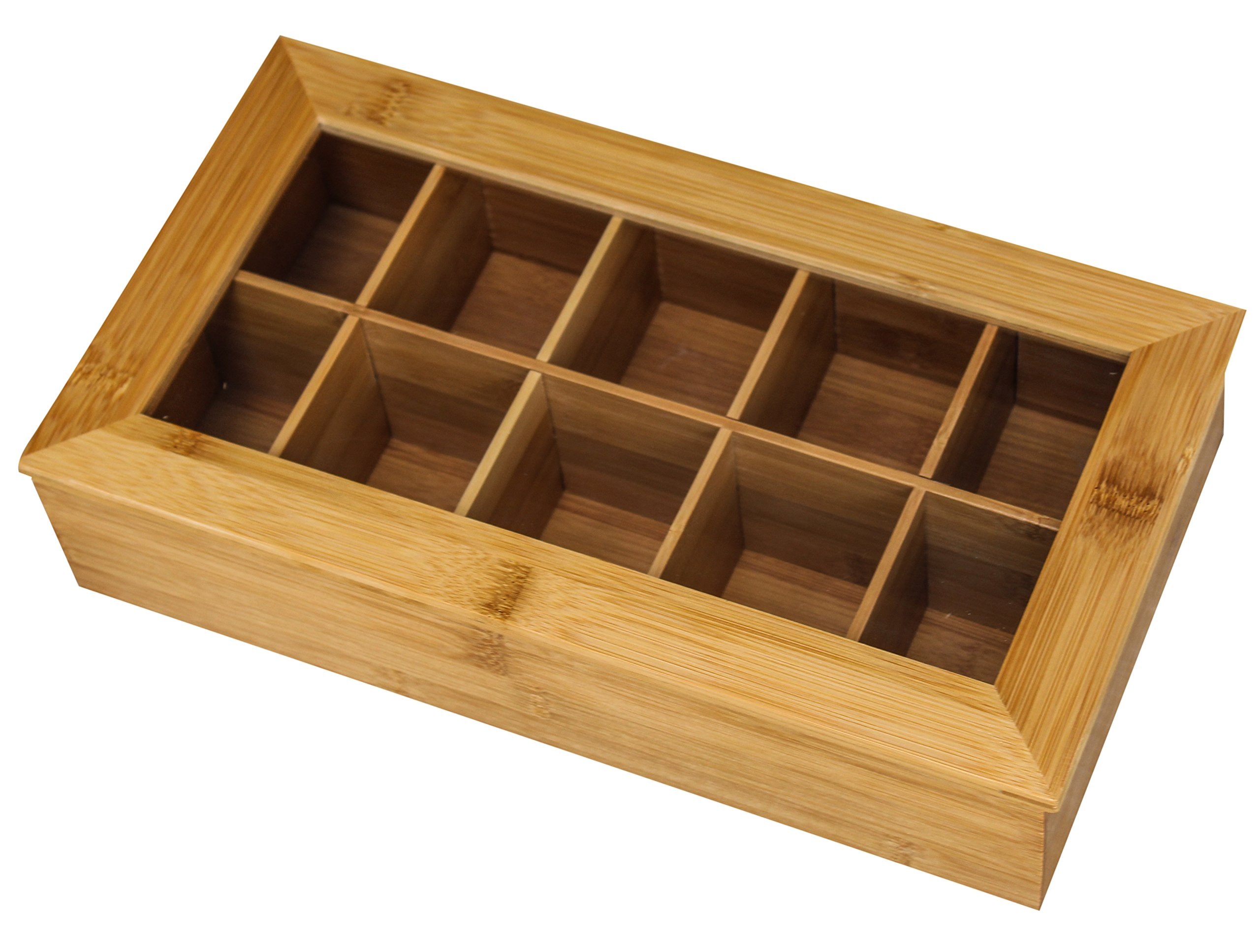 Bamboo Tea Storage Box - Tea Bag Organizer Or Kitchen Condiment Holder Perfect for Tea Lovers (14.5'' x 8'' x 4'')